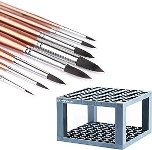 Transon Round Paint Brush Set with Brush Desk Organizer