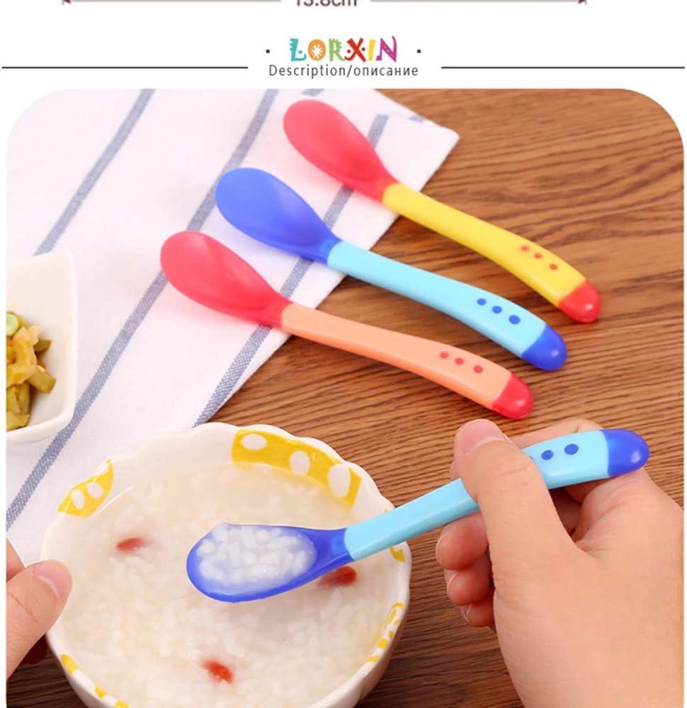 Cuchara de detecci/ón de calor para beb/és Seguridad de los ni/ños para beb/és Sensores de temperatura Ni/ños que alimentan cucharas de silicona