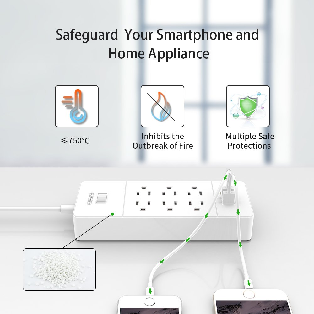 Ntonpower Power Strip Usb 6 Outlet Cord 3 Saver Circuit Diagram Jumbo Intelligent Charger Ports Home Office 5ft Wall Mounted Extension Overload Protection