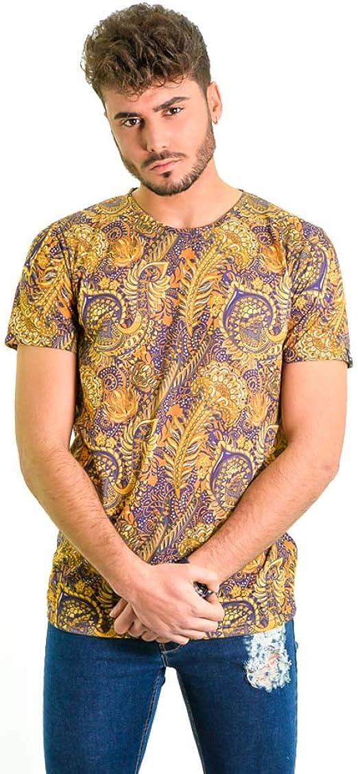 DIVARO - Camiseta Estampado Barroco Color Mostaza Y Morado - Manga ...