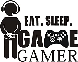 Gamer with Controller Wall Decal, Eat Sleep Game Boy Decal Wall Sticker, Vinyl Art Design Sticker Wall for Home, Playroom Bedroom Decoration Wallpaper (2)