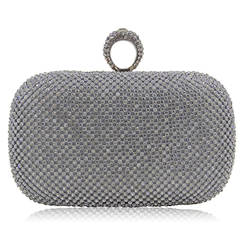 Milisente Women Evening Bag Glitter Rhinestone Vintage Knuckles Clutch Purse Bags (Silver a)