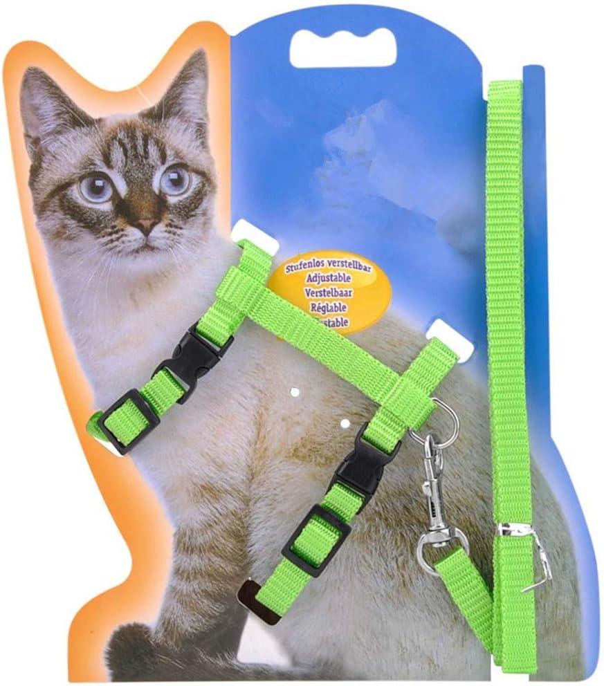 Negro TheBigThumb Cat Lead Leash Halter Body Arn/és Kitten Nylon Strap Belt Cintur/ón de Seguridad Ajustable Small Cat Dog Collar