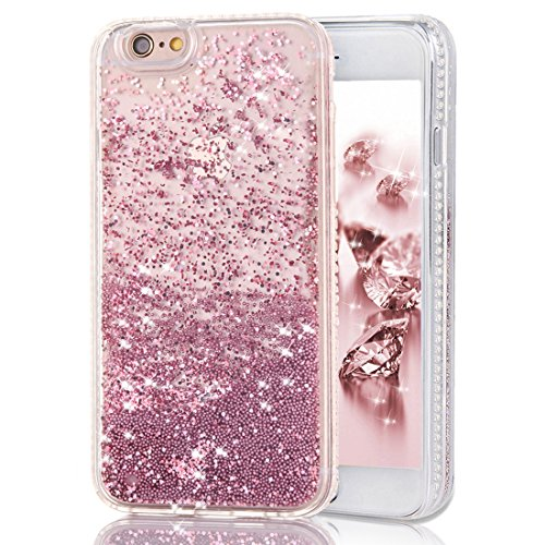 iPhone 6 Plus Case, iPhone 6s Plus Case, CRAZY PANDA New Creative Glitter Case with Soft TPU Border and 3D Free-moving Sparkle Pearls Without Liquid for iPhone 6 Plus /6s Plus -Pink Pearlet Crazy Panda