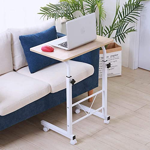 Sofa Side Table,Rolling End Table C Shaped Couch Table Adjustable Laptop PC Computer Table Stand Desk Movable Bedside Tray Home Living Room Bedroom Furniture Decor Workstation Writing Desk Wood White