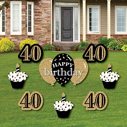 Adult 40th Birthday - Gold - Yard Sign & Outdoor Lawn Decorations - Birthday Party Yard Signs - Set of 8