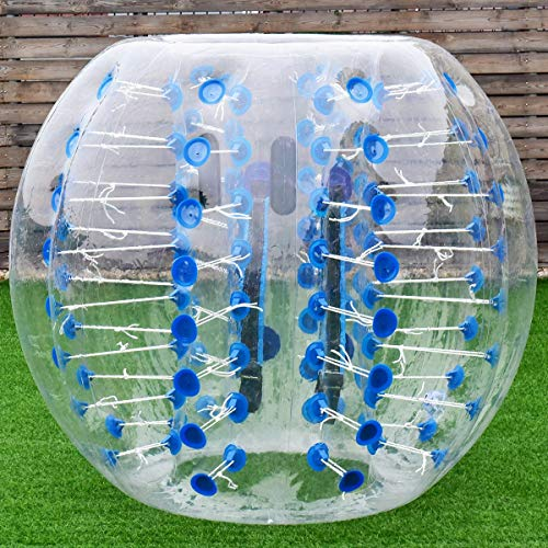 Costzon Bubble Soccer Ball, Dia 5 ft (1.5m) Human Hamster Ball, Thick 8mm PVC Transparent Inflatable Bumper Ball Zorb Ball for Teens and Adults (Sapphire Dot) - Sapphire Dot