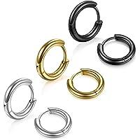 3 Pairs Stainless Steel Hoop Earrings for Men - Hinged Hoop Huggie Piercing Earrings Set For Men Women, Hypoallergenic…
