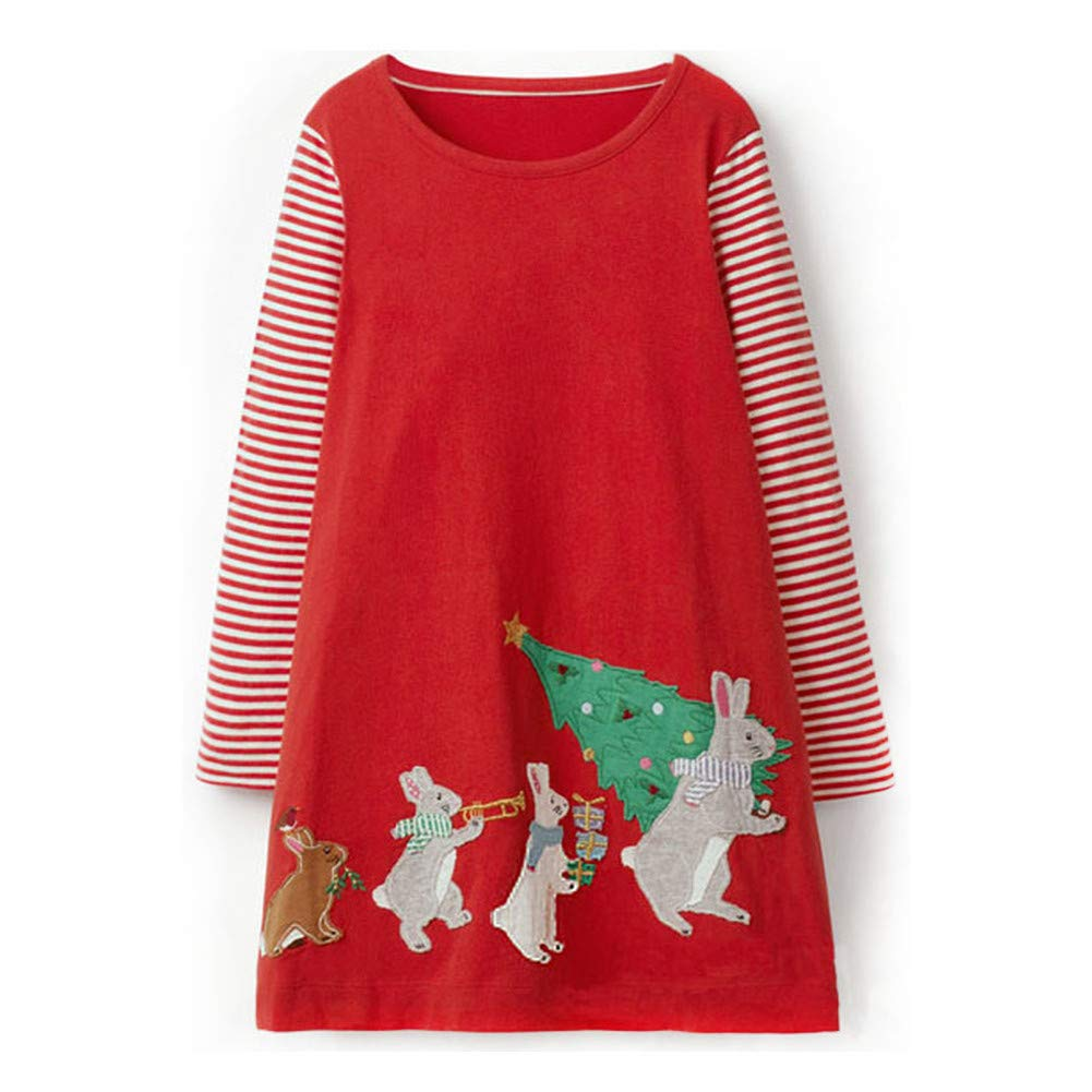 Little Girl Stripe Long Sleeve Autumn Winter Cotton Rabbit Christmas Trees Dress