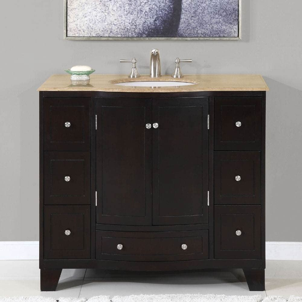 40 in. Naomi Single Sink Bathroom Vanity in Expresso White Sink