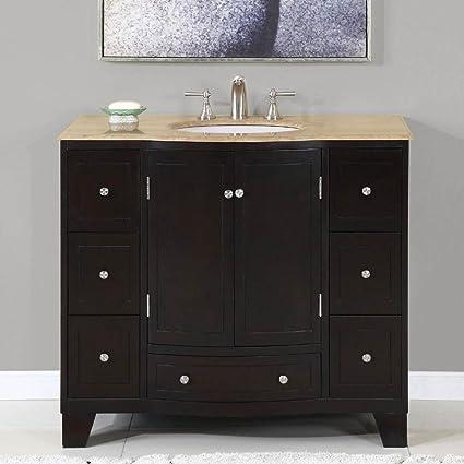 Naomi Single Sink Bathroom Vanity In Expresso (White Sink)