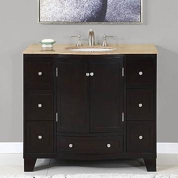 40 In Naomi Single Sink Bathroom Vanity In Expresso White Sink