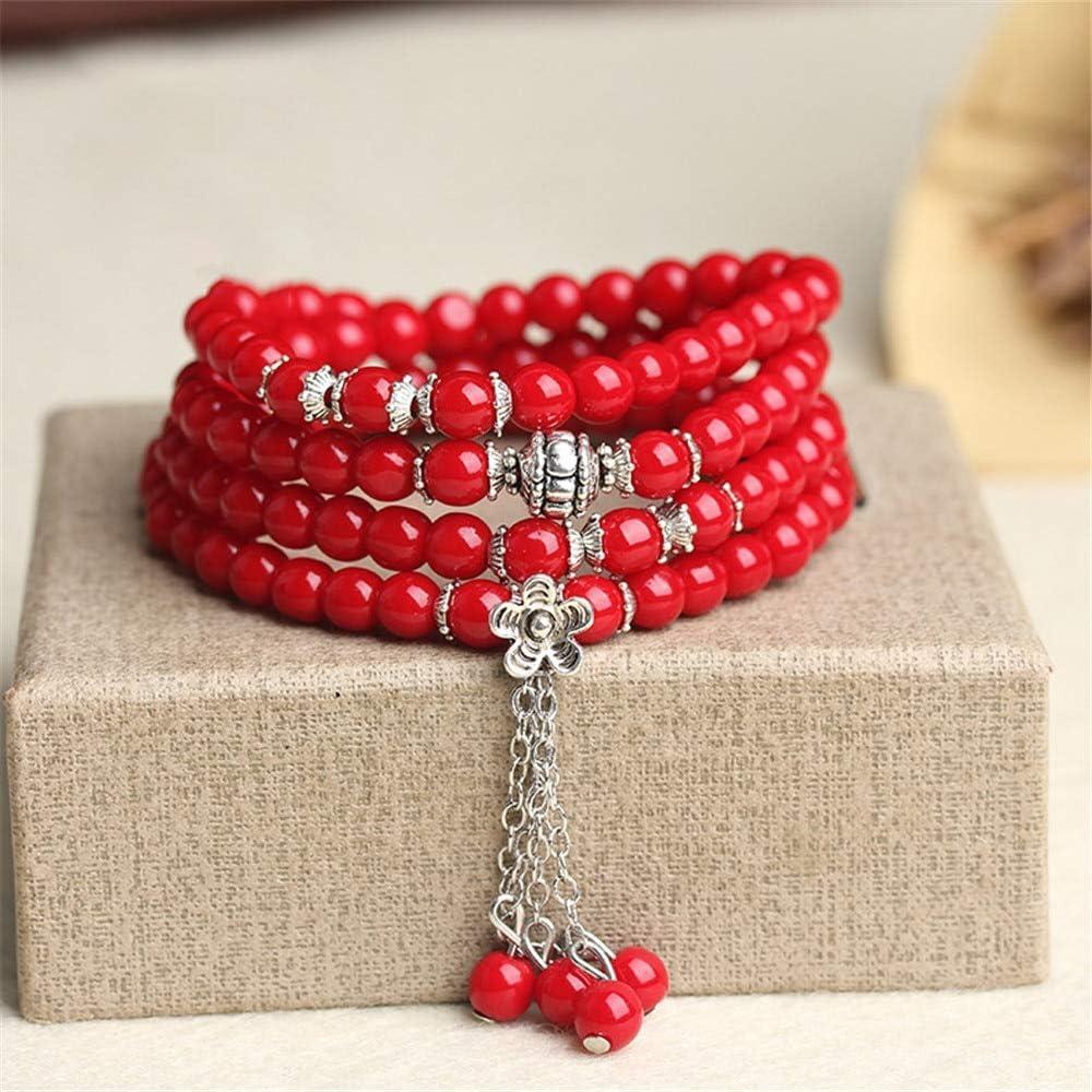 LEIGAGA Lucky 6mm Red Coral 108 Beads Strand Pulseras Moda Mujer Pulsera Multicapa Yoga Meditación Pulseras Joyería al por Mayor