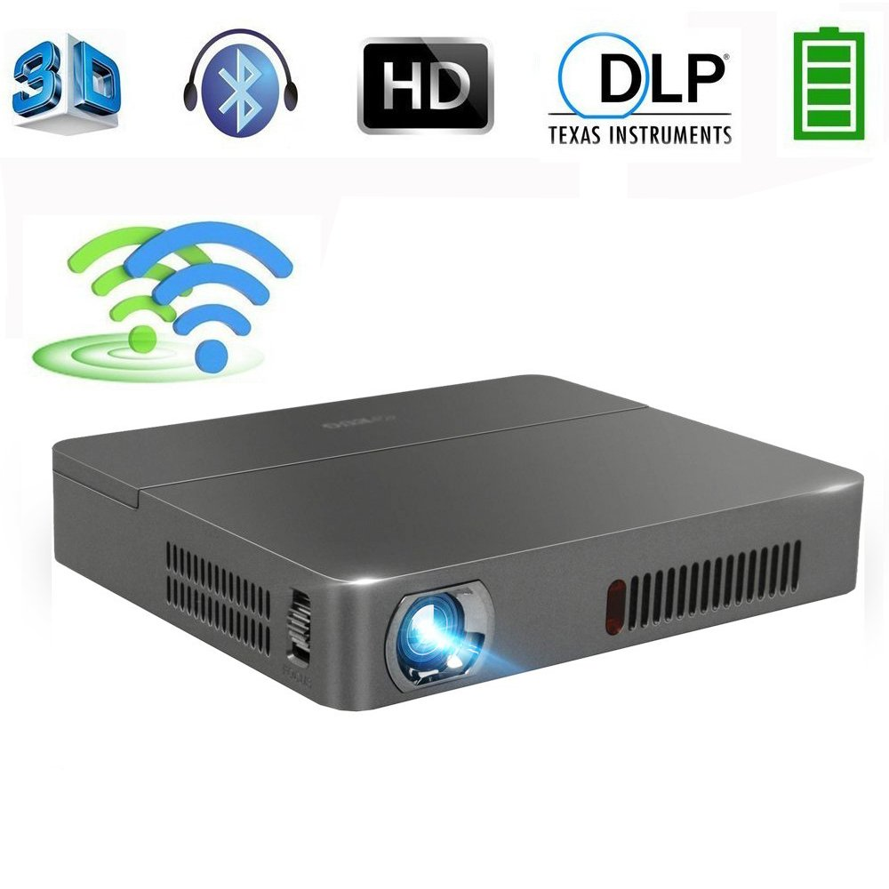 DLP Pico Portable Projector Android Bluetooth Wxga 3D 2.4G&5G Dual WiFi Mini Video Projectors Built-in Battery Wireless&HDMI Connectivity for Bussiness Travel,Camping, Outdoor Movie Home Theater