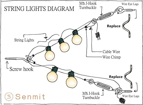 Amazon senmit globe string lights suspension kit outdoor amazon senmit globe string lights suspension kit outdoor light guide wire vinyl coated stainless steel steel cable 164 ft with turnbuckle and hooks asfbconference2016 Images