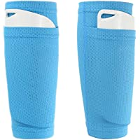 AiLike Nylon Pocket Shin Guard Sleeves Calf Compression Socks for Soccer Football Sports (Blue, Adults)