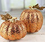 Factory Direct Craft Pair of Lightweight Artificial Gold Sarkling LED Pumpkins for Holiday Decorating and Creating