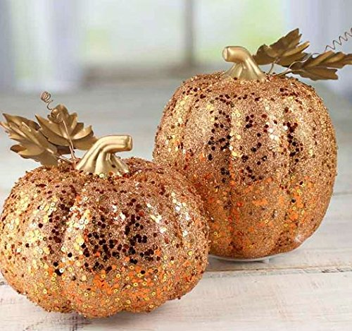 Factory Direct Craft Pair of Lightweight Artificial Gold Sarkling LED Pumpkins for Holiday Decorating and Creating by Factory Direct Craft