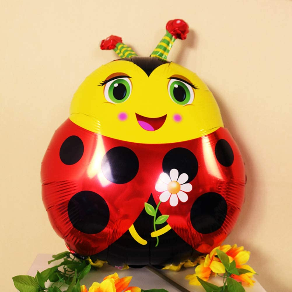Ladybug Themes Birthday Party Decorations Supplies-HAPPY BIRTHDAY Balloon,Ladybird and Red Flower Foil Balloons,Dot Latex Balloons,Tassel and Paper Fans Decoration Set for Children Kids Party Decor