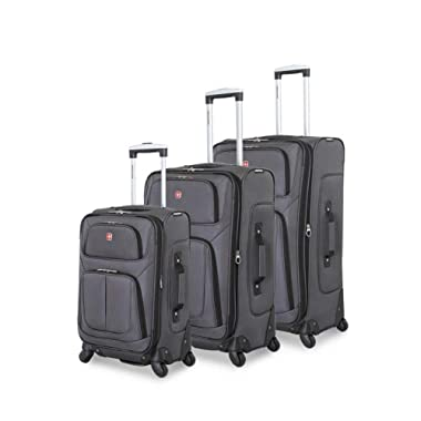SWISSGEAR 6283 Amazon Exclusive 3pc Spinner Luggage Set with Dopp Kit Bundle Dark Grey