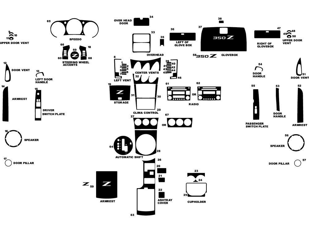 Rvinyl Rdash Dash Kit Decal Trim for Nissan 350Z 2003-2005 - Carbon Fiber 4D (Black)