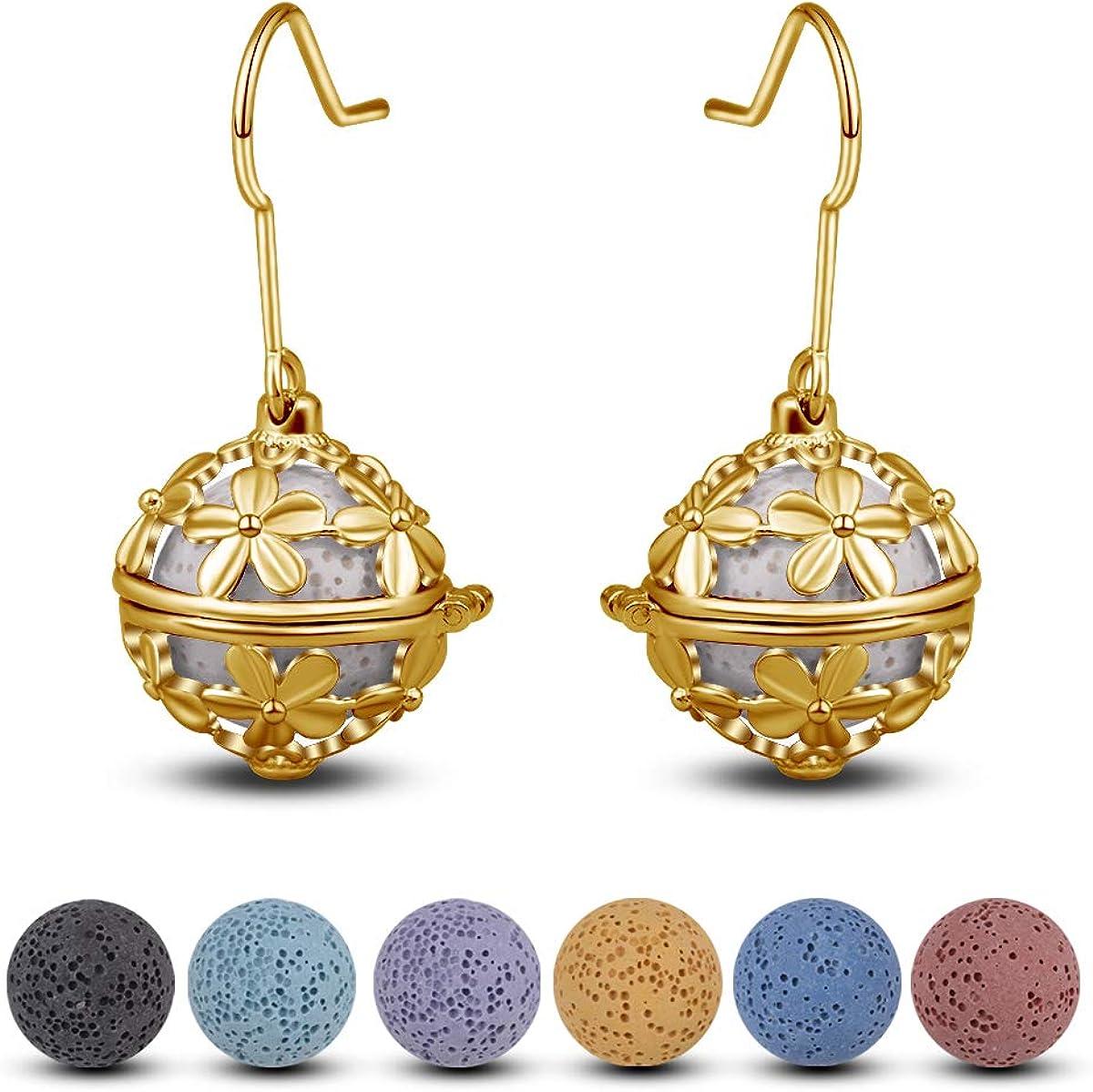 Aromatherapy earrings Real rose petals earrings  lava stones