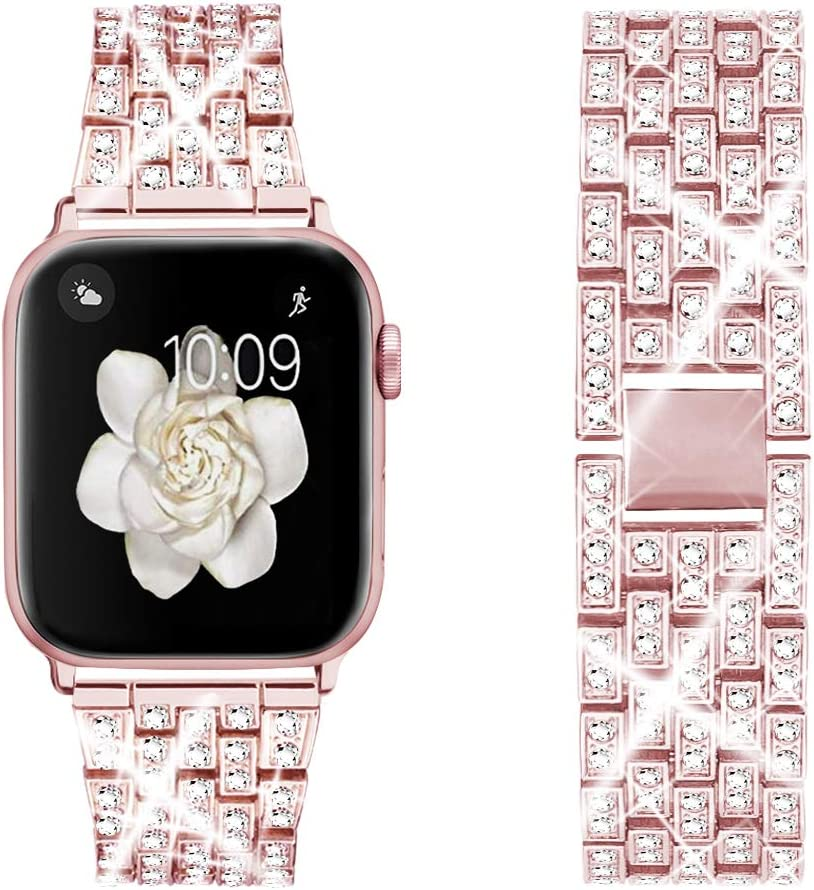 Dsytom Bing Band Compatible with Apple Watch Band 42mm 44mm 38mm 40mm,Jewelry Replacement Metal Wristband Strap for iWatch Band Series 6/5/4/3/2/1/SE(Rose Pink)