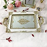 What's Fun Luxury Rectangle Mirrored Decorative Tray Plate for Home Décor/Wedding/Jewelry/Occasion
