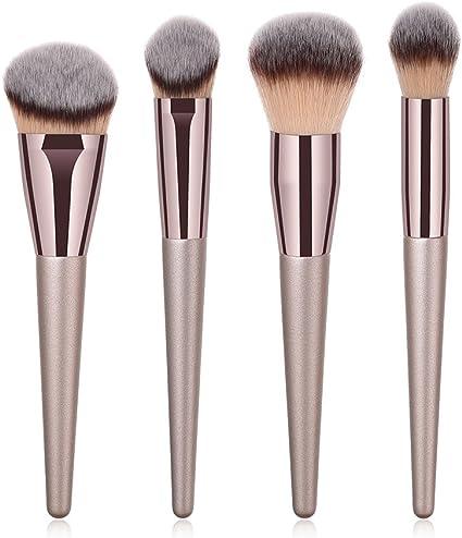 BIGBOBA 4 Piezas de Maquillaje Set,Brochas para Maquillaje Facial Cepillo Cosmético Pincel de Maquillaje de Mango de Madera de Avanzado Design Maquillaje Cepillos: Amazon.es: Belleza