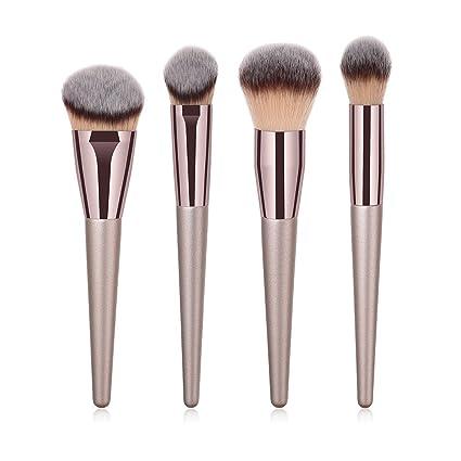 BIGBOBA 4 Piezas de Maquillaje Set,Brochas para Maquillaje Facial Cepillo Cosmético Pincel de Maquillaje de Mango de Madera de Avanzado Design ...