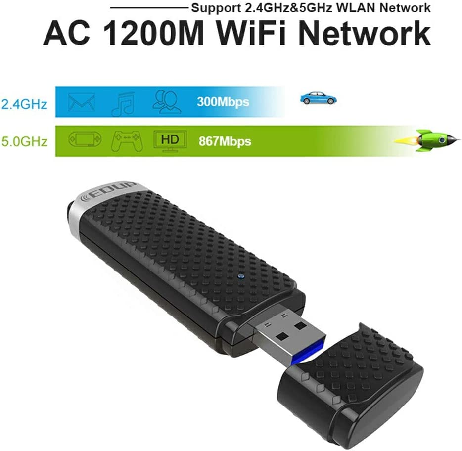 Windows 7//XP; USB 3.0; AC 1200 Windows 8 PC of Windows 10 2.4GHz 300Mbps; for Desktop Laptop TANG-1 1200Mbps USB WiFi Network Adapter; Dual Band AC 5GHz WiFi Speed 867Mbps