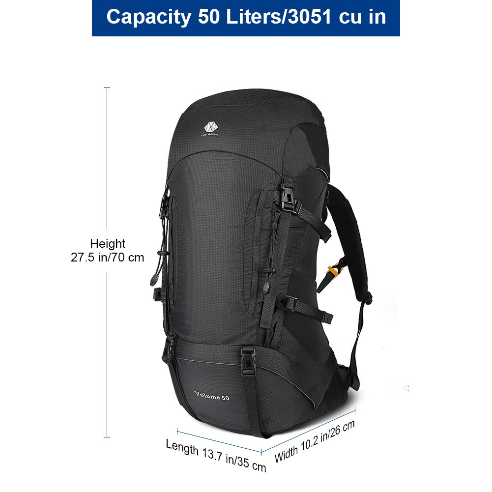 30L-50L Hiking Backpack For Men and Women Lightweight and Waterproof With Internal Frame Large Ultralight Travel Outdoor Sport Camping Breathable Bag With Mesh Back Ideal for Hill Walker Camping Clibm 1XD GEAR