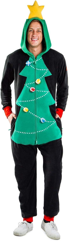 Men's Christmas Game Cozy Jumpsuit - Cozy Christmas Tree Onesie w/Velcro Balls