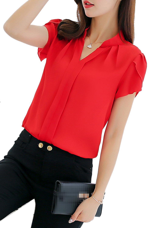 Suvotimo Women Casual Short Sleeve V Neck Office Blouses Chiffon Tops Plus Size CAMEG1156