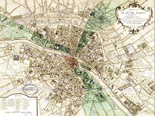 MAP PLAN DE PARIS FRANCE NEW FINE ART PRINT POSTER PICTURE 30x40 CMS - Mail To France First Class