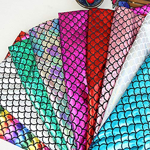 Tong Gu Mermaid Sequins Fabric Fish Scales Stretch for Dress Costume Decor DIY Crafts Sold by Meter,Width 1.5m (2 Meter Continues, Rainbow)