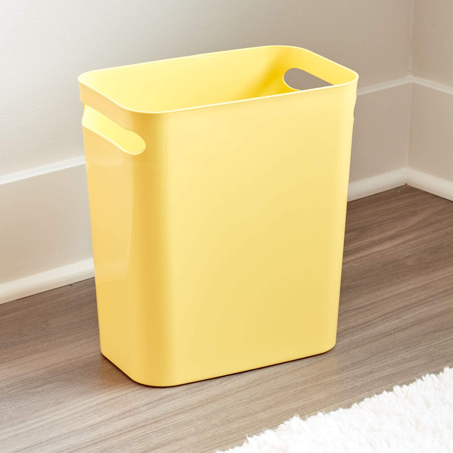Bedroom-Set of 2 Trash Can for Bathroom Kitchen Yellow InterDesign UNA Waste 12 inch