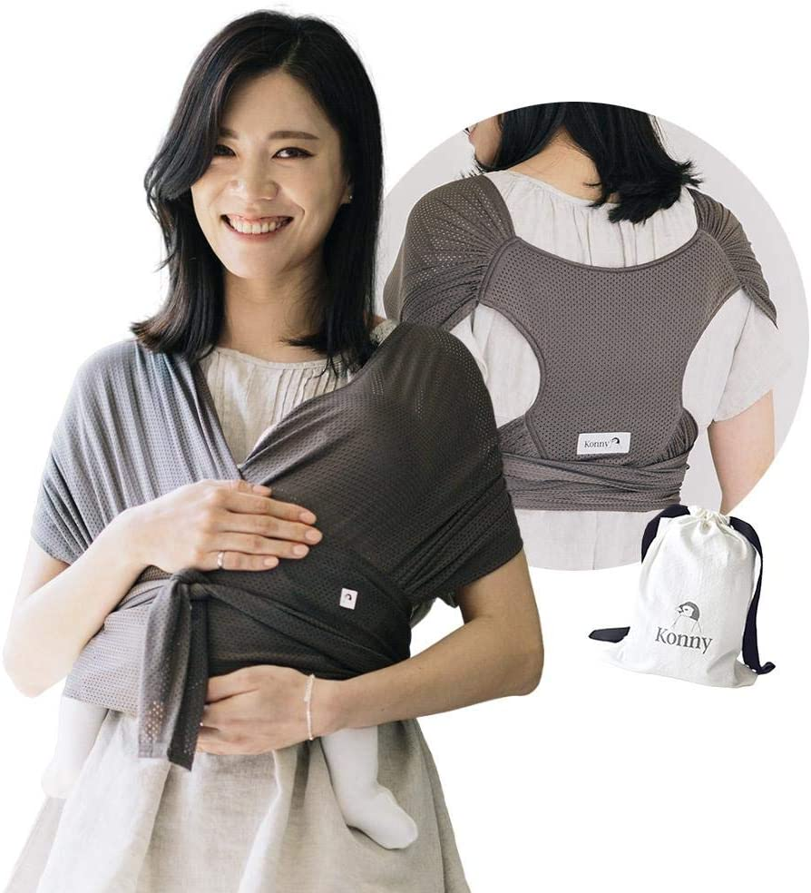 Sensible Sleep Solution Newborns Infants to 44 lbs Toddlers Beige, 2XS Ultra-Lightweight Cool and Breathable Fabric Konny Baby Carrier Summer Hassle-Free Baby Wrap Sling