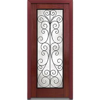National Door Company ZA00124L Fiberglass Mahogany, Windsor Cherry, Left  Hand In Swing,
