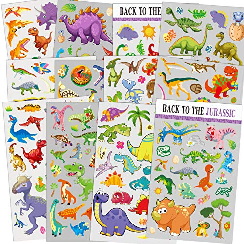 HORIECHALY 12 Sheets Dinosaur Stickers, 260 Different Dinosaurs for Boys, Kids, Teacher, Parent, Grandparent, Kids Craft, Party Favors, Scrapbook Making, Reward Stickers -