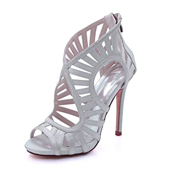 Flower-Ager Mujeres Peep Toe Tacones De Aguja Botas De Seda Satén Plataforma Mujeres Vestido Boots Evening Party Nupcial Corte Zapatos Plata: Amazon.es: ...