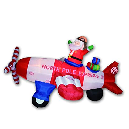 Goosh Animated 8 Foot Wide Christmas Inflatable Santa Claus Flying Airplane Blow Up Holiday Yard Decorations