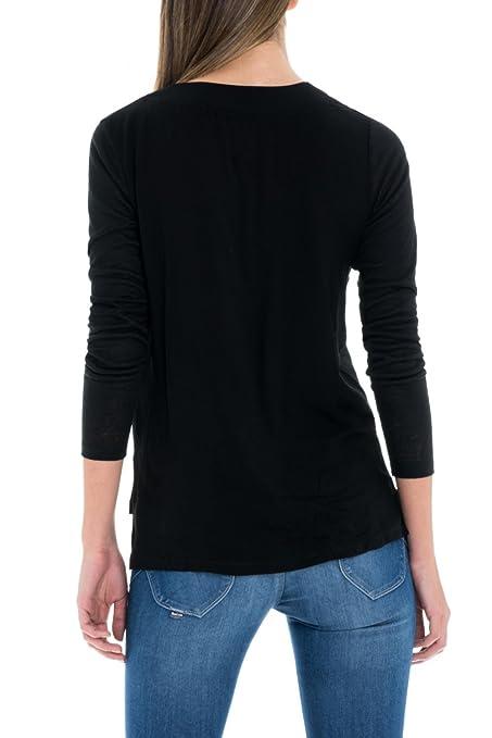 Con Cuello Parte Salsa Manga Camiseta Ornamento Raund Larga gvvUawq