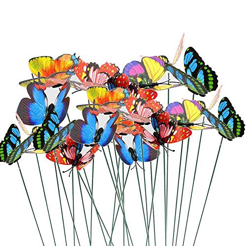 Stake Christmas Tree - Butterfly Garden Ornaments Butterfly Patio Decor Party Supplies Butterfly Decorations for Outdoor Garden Yard Flower Plant Pot Christmas Tree 25pcs