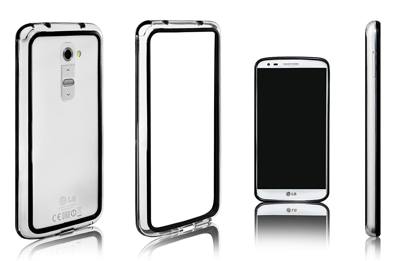 Xcessor Bumper Funda Carcasa de Parachoques Clásico Para LG G2. Caucho y Plástico. Negro/Transparente