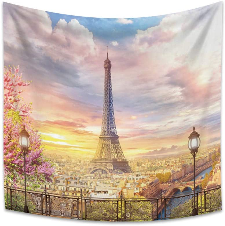 OERJU 70.9x70.9 inch Eiffel Tower Tapestry for Living Room Spring Scenery of Romantic City Paris Tapestry Wall Hanging for Bedroom Wedding Tapestry for Party Decor