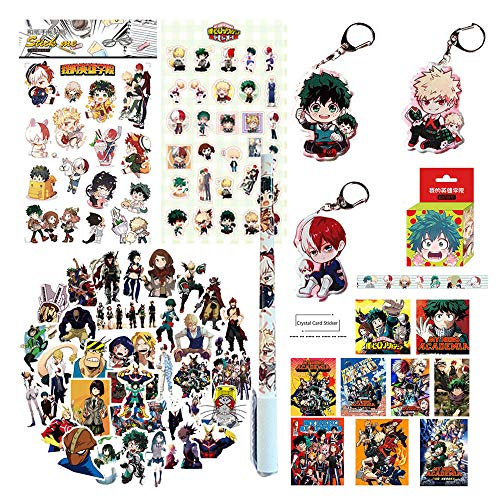 - My Hero Academia Stickers Gift Set -1Pcs Paper Sticker +1Pcs PVC Sticker +50 PCS latpop Sticker +1Izuku Midoriya Katsuki Bakugou Shoto Keychain +1 Carton Papper Tape+10 Random ID Card Sticker+1 Pen