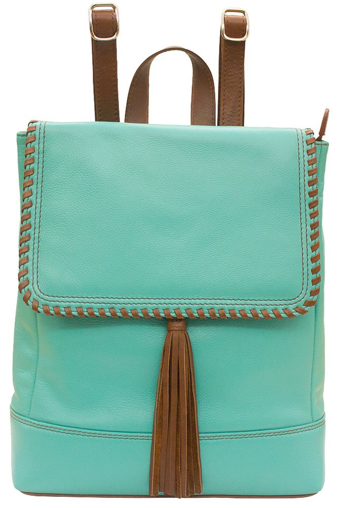 ili 6699 Leather Whipstitched Backpack Handbag (Turquoise/ Toffee) by ILI