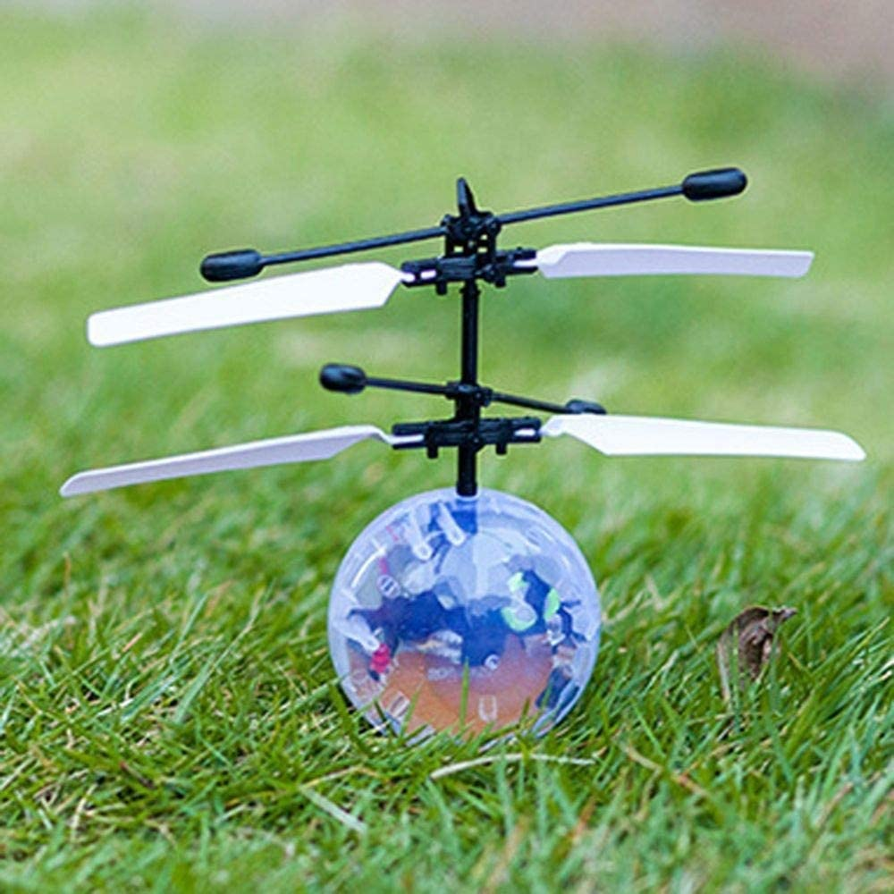 EqWong Flying Ball Kids Luminous Magic Electric Flying Ball Helicopter Colorful Flashing LED Light Infrared Sensor Toy Gift Flying Hover Disco Ball Toy Infrared Induction RC Flying Ball