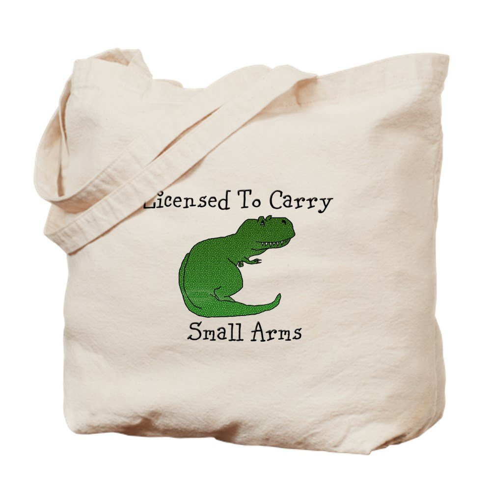 CafePress – TRex – Licensed To Carry Small Arms – ナチュラルキャンバストートバッグ、布ショッピングバッグ M ベージュ 14486245876893C B073QTSDS5 MM